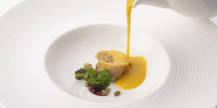 This recipe from Phil Carnegie of Inverlochy Castle combines tortellini stuffed with crab with a butternut squash soup