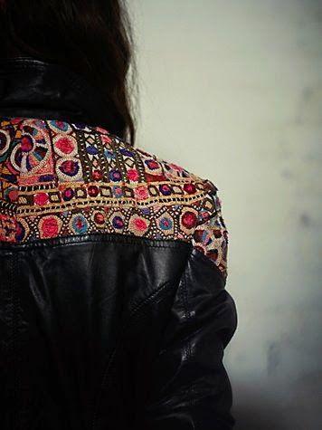 Embellished Black Leather Jacket