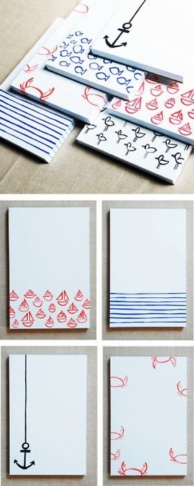 Cute nautical canvases... I only wish whoever pinned this originally had thought to link back to a site, not an image.