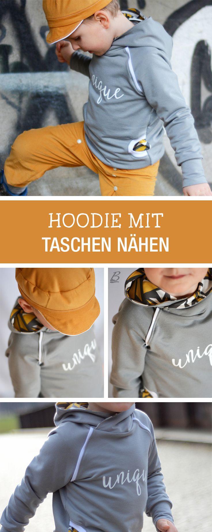 Kostenlose Nähanleitung und Schnittmuster für einen Hoodie mit Kapuze und Taschen / diy sewing tutorial and pattern: sewing a hoodie for kids via DaWanda.com