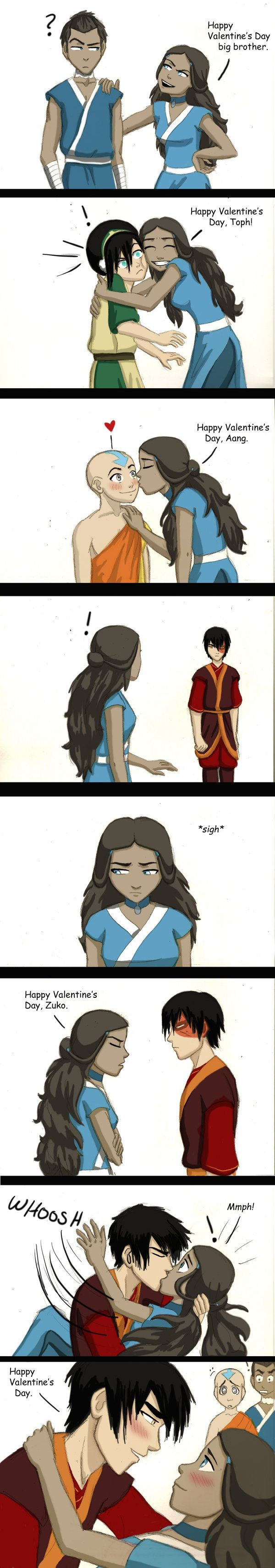 Zutara- Valentine's Day by ~GreenifyME on deviantART. Repinning just to piss a certain person off. She knows who she is...