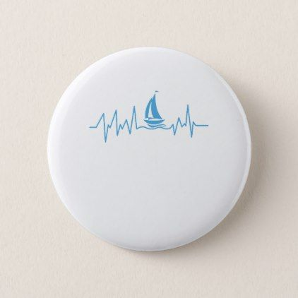 Boat Sailing Gift Heartbeat Funny Sailboat Pinback Button - christmas buttons holidays merry xmas cyo unique