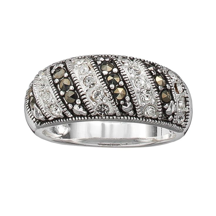 Silver Plated Cubic Zirconia and Marcasite Stripe Ring, Women's, Size: 7, multicolor
