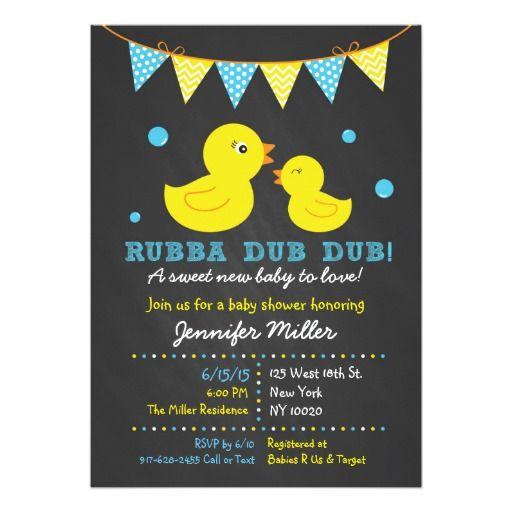 Delightful Chalkboard Rubber Duck Baby Shower Invitations