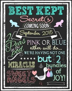 unique twin pregnancy announcement best kept by CustomPrintablesNY
