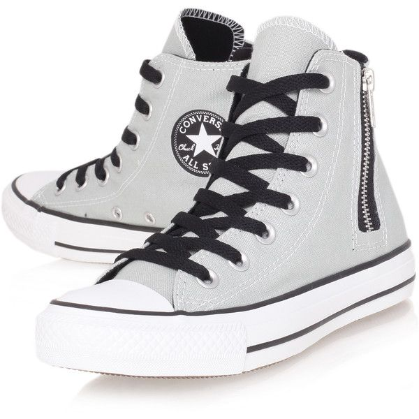 Ct Side Zip Hi Converse Grey (735 MXN) ❤ liked on Polyvore featuring shoes, sneakers, converse, all star, sapatos, grey, canvas high tops, converse high tops, high top shoes and star sneakers