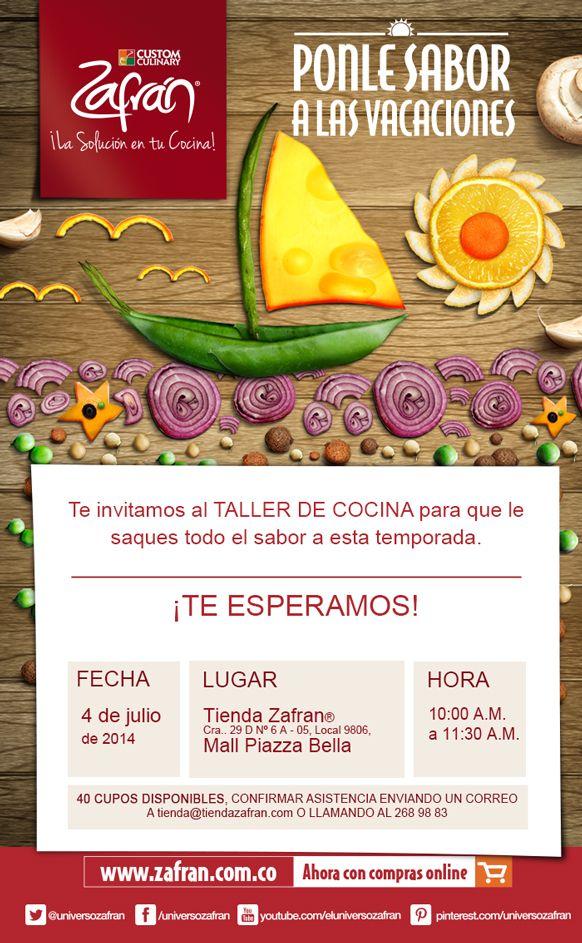 Descarga el recetario del Taller en el siguiente enlace: http://www.zafran.com.co/taller-de-cocina-ponle-sabor-vacaciones/