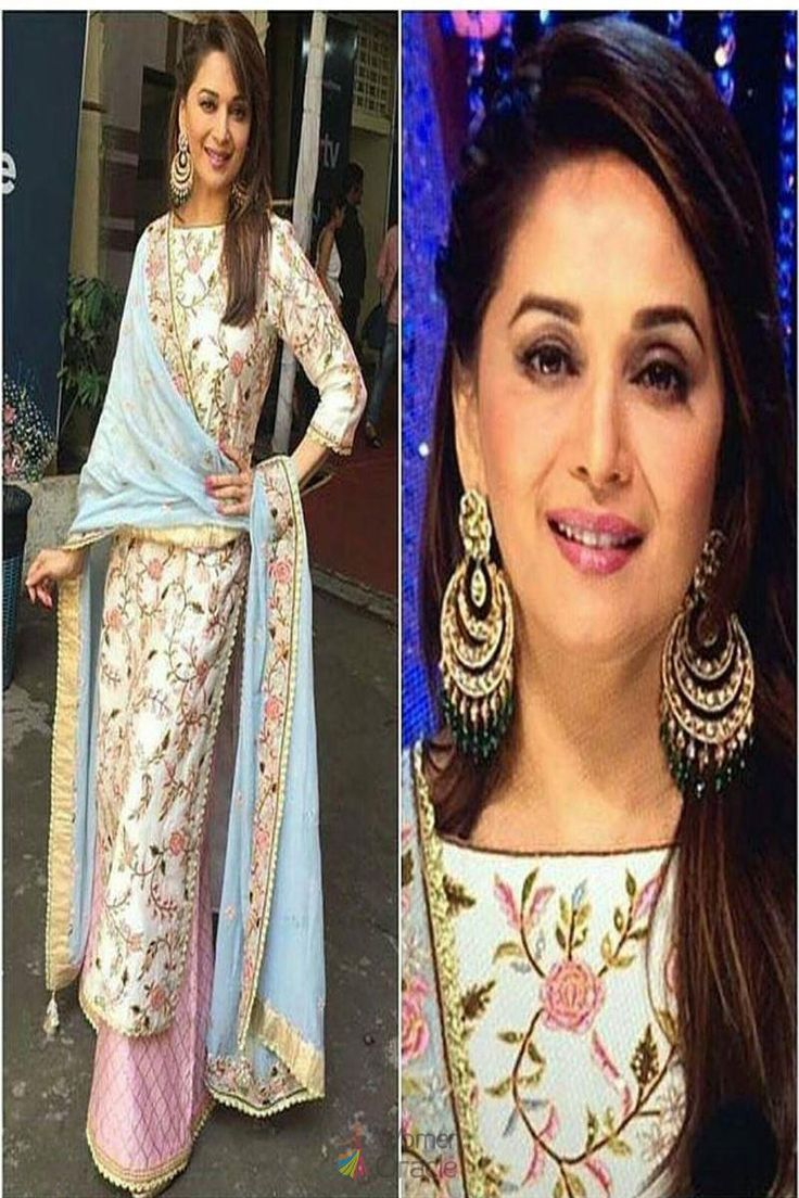 Madhuri dixit influential embroidery work designed stylish bollywood suit-bollywood suits-salwar kameez