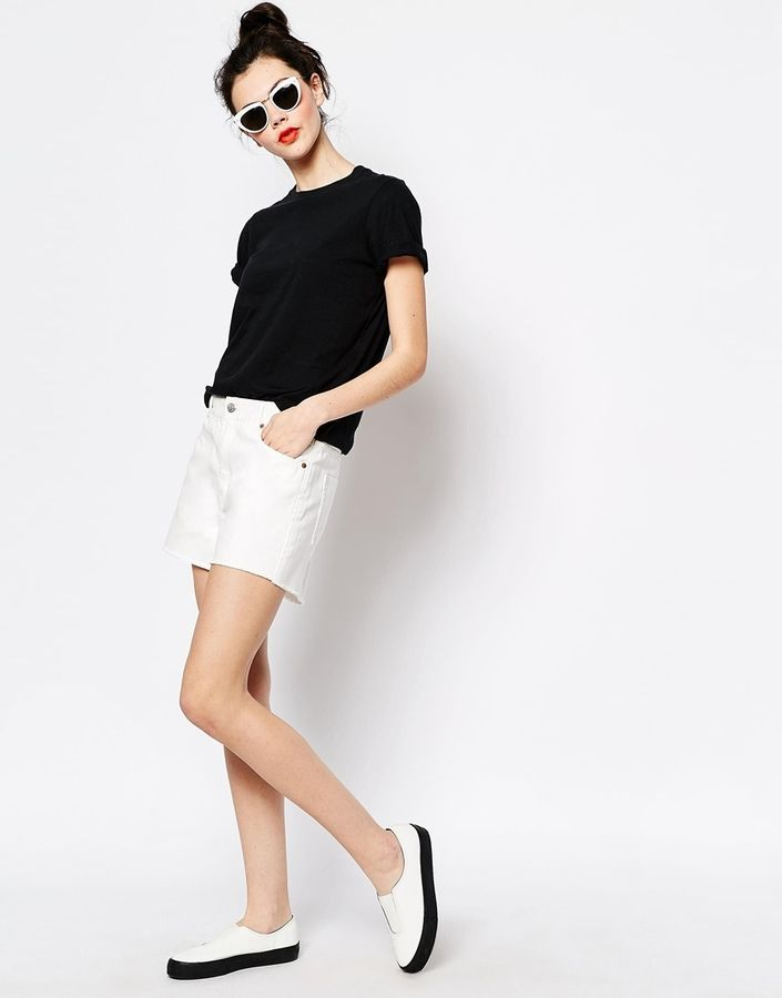 $37, White Denim Shorts: Monki Kelly Denim Shorts. Sold by Asos. Click for more info: https://lookastic.com/women/shop_items/233345/redirect