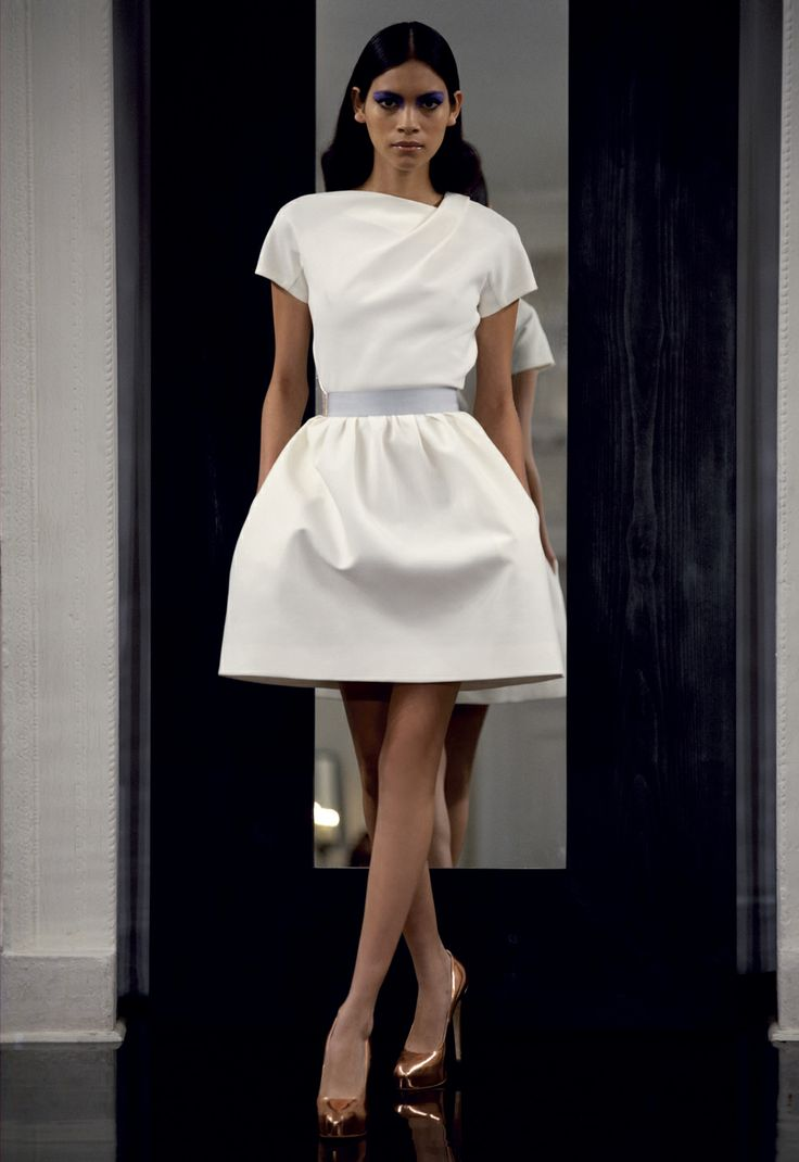 Pleat Shoulder Bell Dress