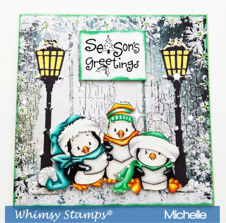 Whimsy Stamps New Release Penguin Carolers