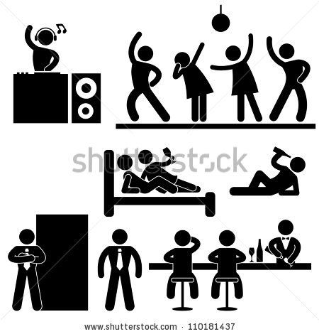 Disco Pub Night Club Bar Party Icon Symbol Sign Pictogram by Leremy, via ShutterStock