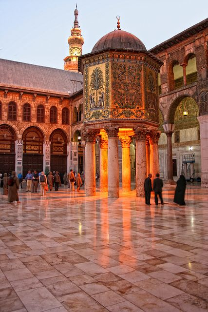 Umayyad Mosque, Damascus, Syria. The Umayyad Mosque, also known as the Great Mosque of Damascus, located in the old city of Damascus, is one of the largest and oldest mosques in the world. It is considered by some Muslims to be the fourth-holiest place in Islam.