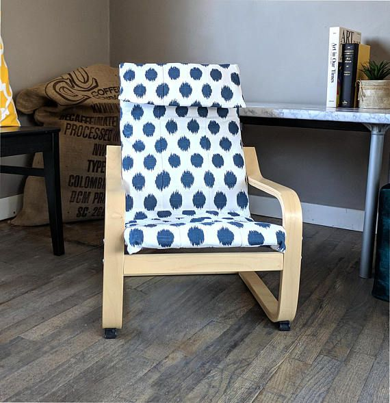 Navy Blue Polka Dot Kids Ikea Poang Chair Cover Custom With