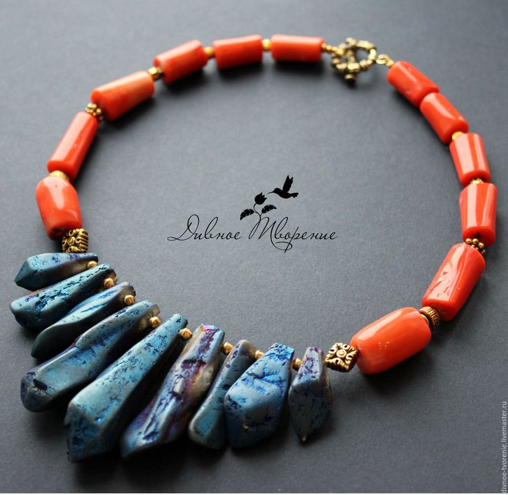 """Купить """"Махараджа"""" колье - комбинированный, яркое колье, индийские мотивы, восток, ожерелье с кораллом, кораллы"""