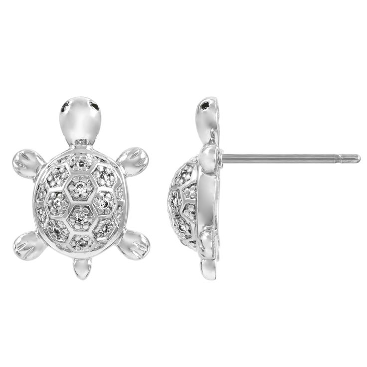 Add a playful touch to any outfit with these cubic zirconia turtle stud earrings. These adorable stud earrings feature a simple silvertone turtle design and shine with brilliant round-cut, clear cubic