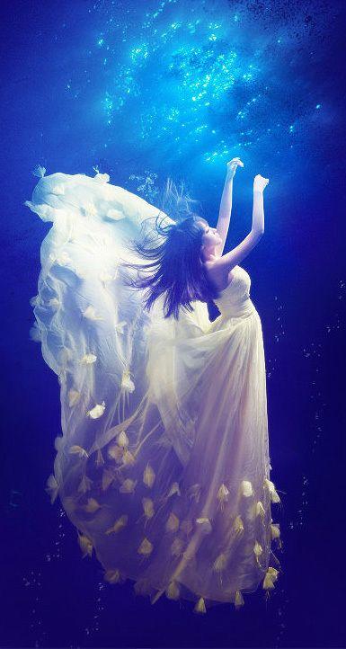 Robe de mariée  Mariage photographie au-dessous de l'eau