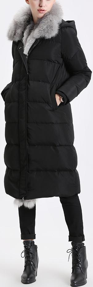 Fox Fur Trimmed Paneled Puffer Coat, Black