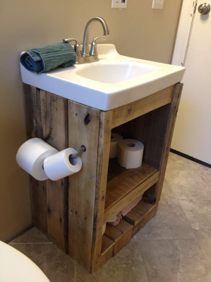 Simple I Wanted To Update Our Bathroom But Didnt Want To Spend A Ton, So I Made This Bathroom Vanity Set From Three Pallets An End Grain Inlay Was Added To The Front Of The Cabinet Doors To Make It Truly Unique And Interesting Bathroom