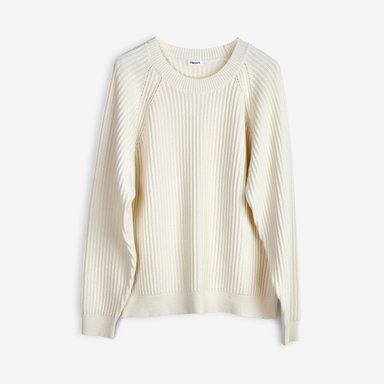 Rib Cotton Wool Pullover, beige