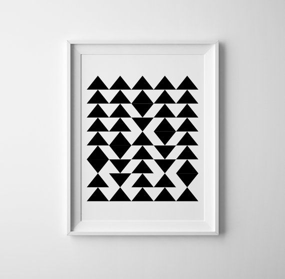 Cute Geometric triangle art for the scandinave nursery. Typography Baby Nursery wall art. Pair it with the typography print for a super cute boys