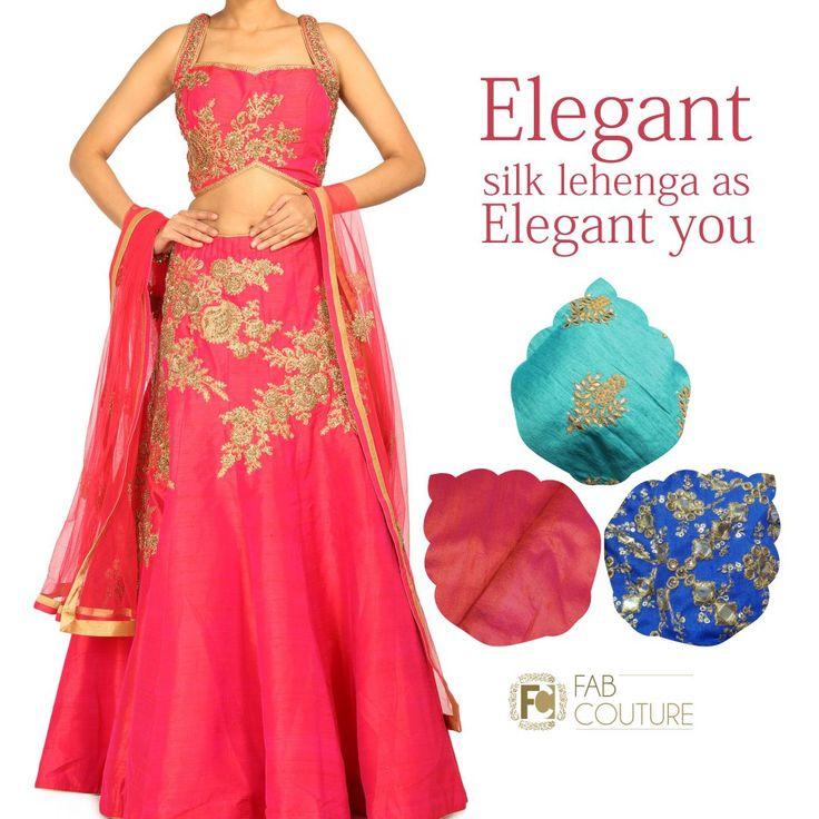 Elegant Silk Lehenga as Elegant You only at #FabCouture! #DesignerFabric at #AffordablePrices.  Buy your stock of fabric from: https://fabcouture.in/catalogsearch/result/?q=raw+silk #RawSilk #DesignerDresses #Fabric #Fashion #DesignerWear #ModernWomen #DesiLook #Embroidered #WeddingFashion #EthnicAttire #WesternLook #affordablefashion #GreatDesignsStartwithGreatFabrics #LightnBrightColors #StandApartfromtheCrowd #EmbroideredFabrics