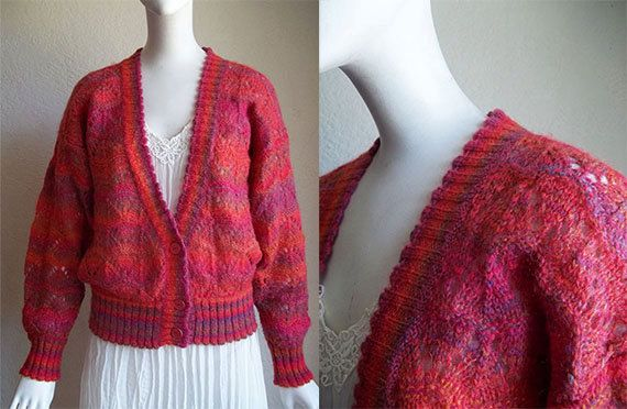 Vintage 80s Poi KRIZIA Italy Mohair Blend Knit Cardigan Sweater L Sz42 B41 by funquejunque, $35.00
