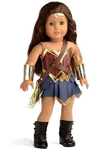 "Shining Metallic Doll Clothes Inspired by Superhero Wonder Woman fit 18"" American Girl Dolls, it can also fit other 18"" dolls alike. Include: doll clothes, shoes and accessories, no doll included. Doll Clothes Inspired by Superhero Wonder Woman for 18"" American Girl Dolls and Other 18"" Dolls Alike. 