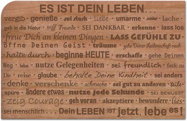 Holzpost, Grußkarte aus echtem Kirschbaumholz 14x9cm inkl. DIN C6 Umschlag! Es ist Dein Leben | G188