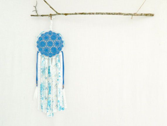 BOHO DREAM CATCHER . vintage floral blue . boho by bohemianbabes