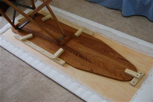 Construction of Ironing Board/Work Table - Quilters Club of America (plywood board attached to top of ordinary ironing board to making a pressing surface for fabric / quilting / sewing)
