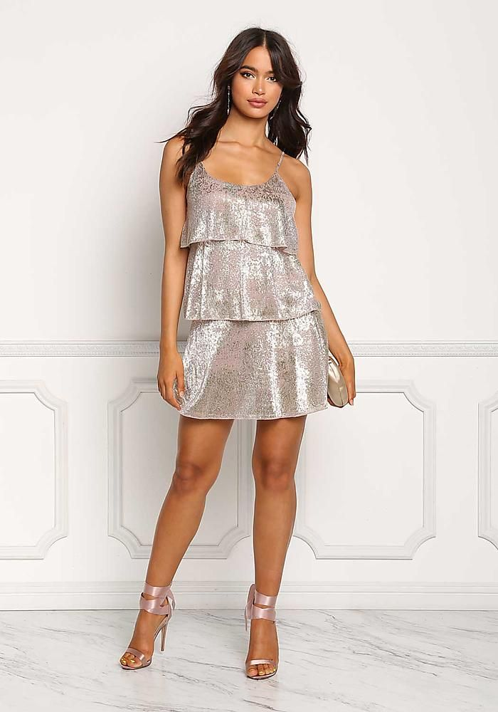 Rose Gold Crepe Metallic Tiered Shift Dress - Going Out - Dresses