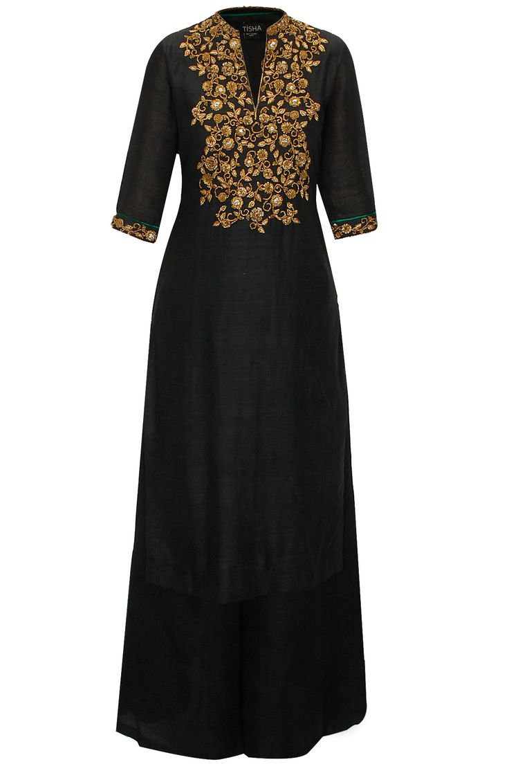 Black zardozi work anarkali set available only at Pernia's Pop-Up Shop.