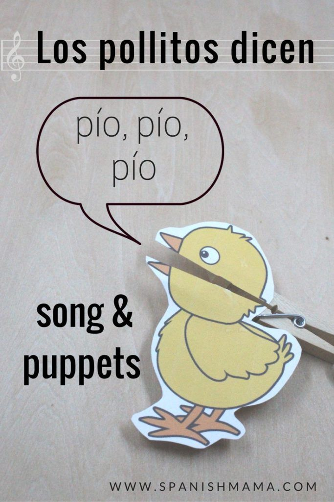 "Free printable clothespin puppet to go with the song ""Los pollitos dicen."" Cute way to act out the song for little Spanish learners!"
