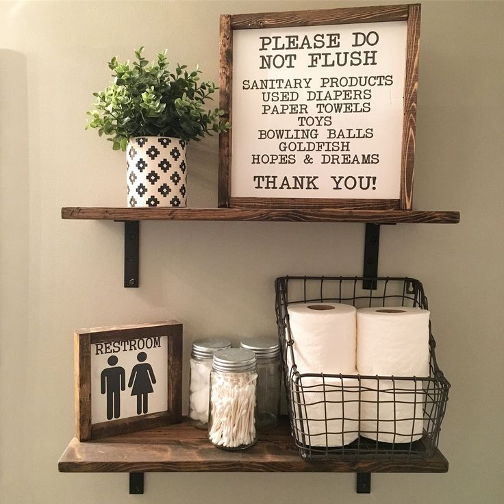 Open Shelves | Farmhouse Decor | Fixer Upper Style | Wood Signs| Bathroom Decor | Bathroom Sign