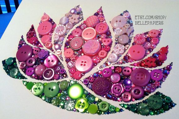 8x10 Lotus Button Art Breathtaking Sparkly by BellePapiers on Etsy, $299.00
