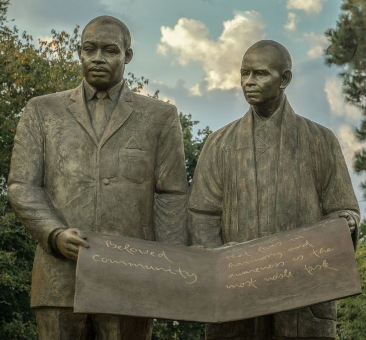 Statue commemorating the friendship of Thich Nhat Hanh and Dr. Martin Luther King at Thich Nhat Hanh's Magnolia Grove Monastery in Mississippi.