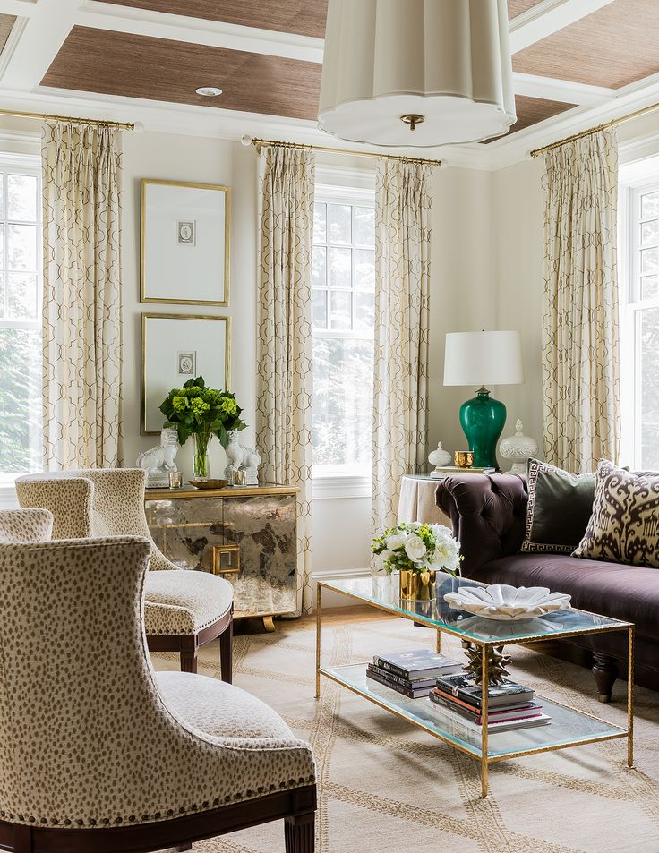 erin gates design portfolio living room | superb neo- traditional living room in neutrals with accents of plum. It's the details which make is so special