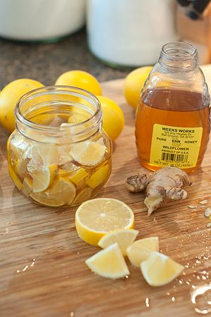 Lemon, Honey, and Ginger Soother for Colds and Sore Throats by lanascooking: Guess what else? If you completely forget that this is in your pantry, after a while it turns into the most delicious marmalade! #Sore_Throat_Remedy  #Colds