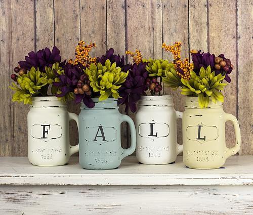 Shabby Chic Fall Mason Jar Vases -- Easily turn Mason jar mugs into fall-themed vases. #decoartprojects