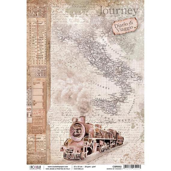 Ciao Bella Rice Paper, Decoupage Paper, Collage Paper, CBR002, Diario Di Viaggio, Train