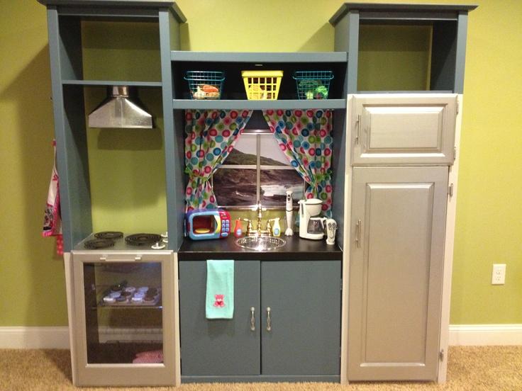 Repurposed Entertainment Center Into Kids Play Kitchen