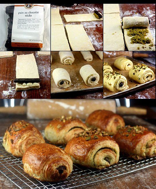 Pains au chocolat, chocolat blanc et pate de pistaches.  - Chocolate Croissants and White Chocolate-Pistachio Croissants