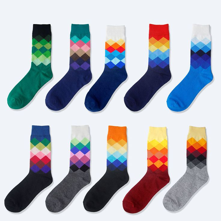 1 Pair High Quality Male Tide Brand Happy Socks Gradient Color summer Style Cotton Men's Knee Business Socks Man Sox