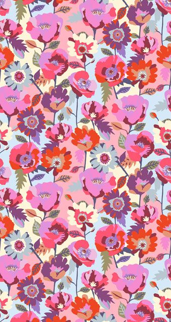 floral, pattern, repeat, bright, colour, pink, purple, spring, poppy, flowers