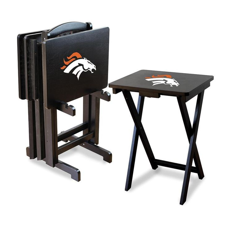 Denver Broncos NFL TV Tray Set with Rack