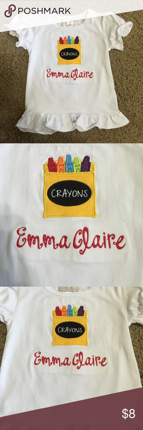 Darling back to school shirt! Precious back to school shirt. Has an appliqué of a box of crayons with the monogrammed name Emma Claire. Great condition! Southern Tots Shirts & Tops Tees - Short Sleeve