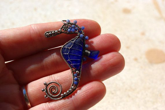 SALE. Tiny COBALT BLUE seahorse wire wrapped seaglass by palmeras