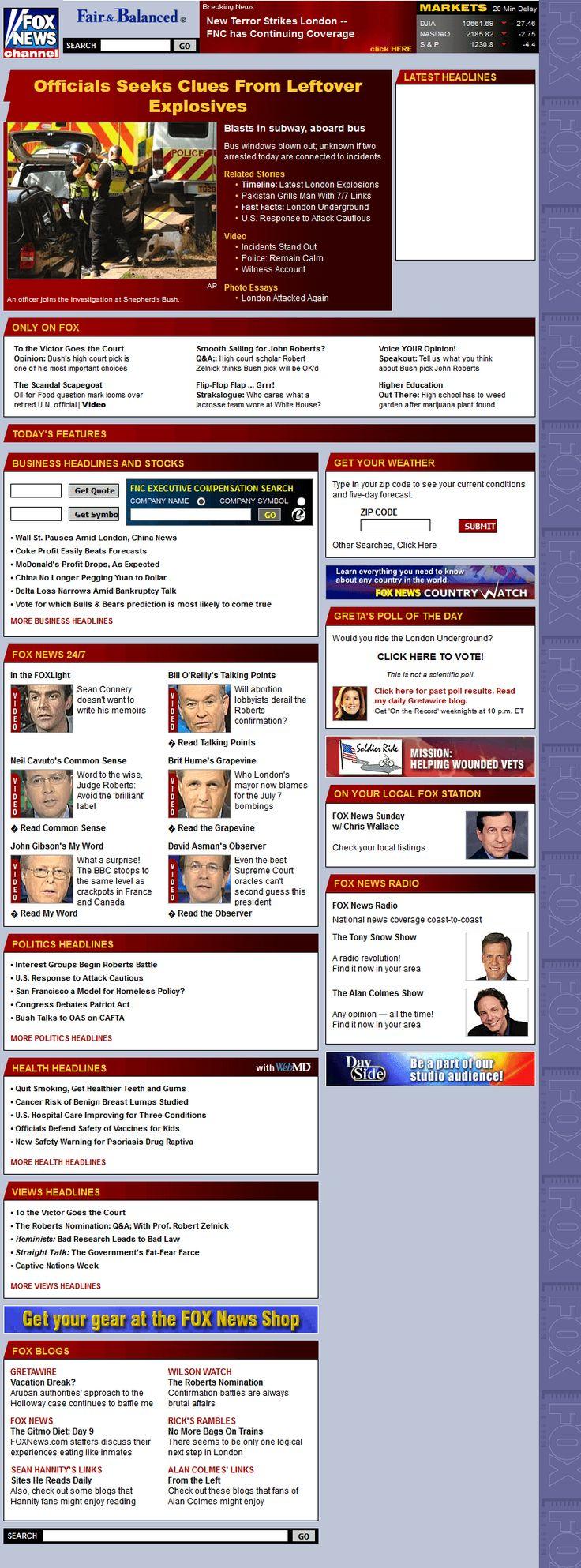 Fox News Channel website in 2005