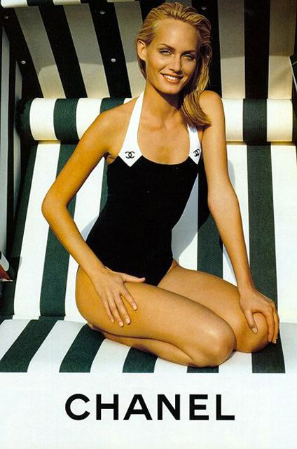 Amber Valletta for Chanel / black and white swimsuit